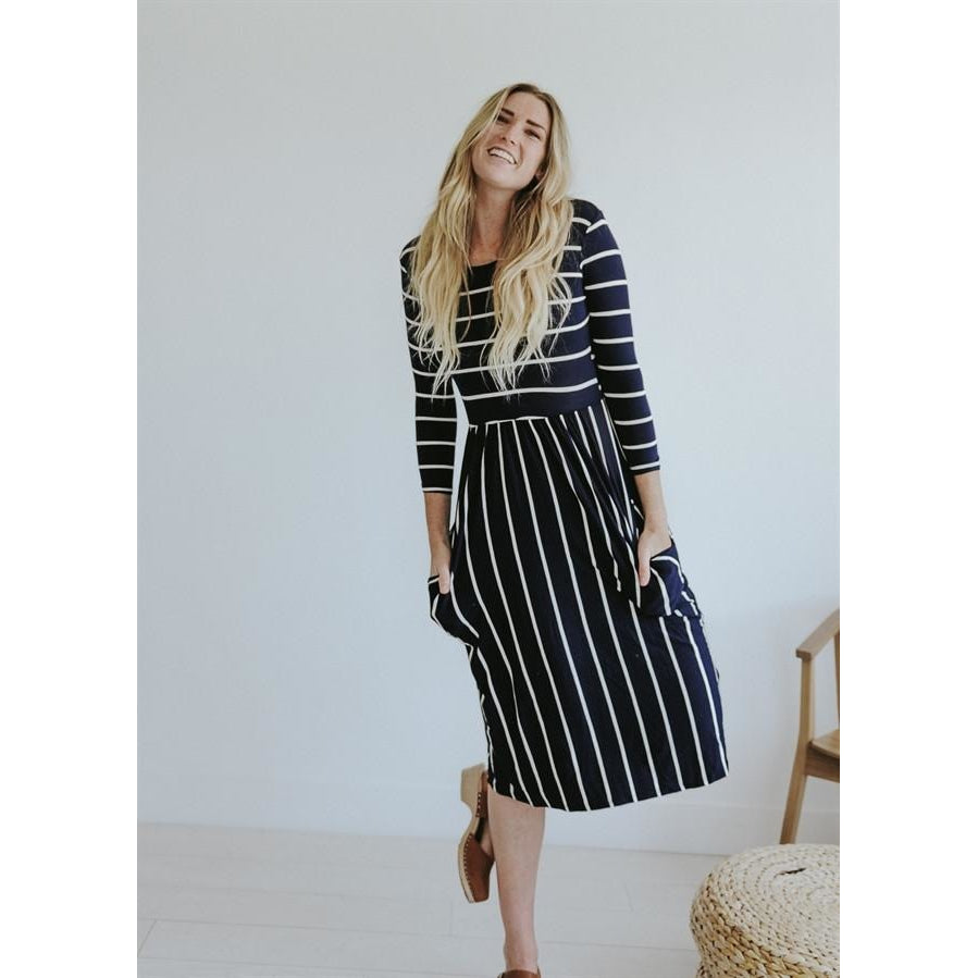 JENNY MIDI DRESS WITH VERTICAL STRIPE SKIRT