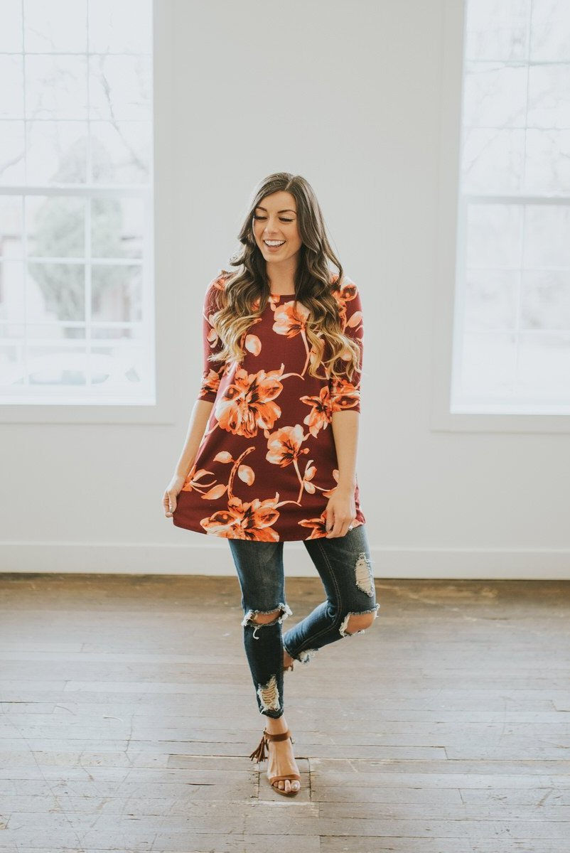 Ruby Floral Print Swing Tunic