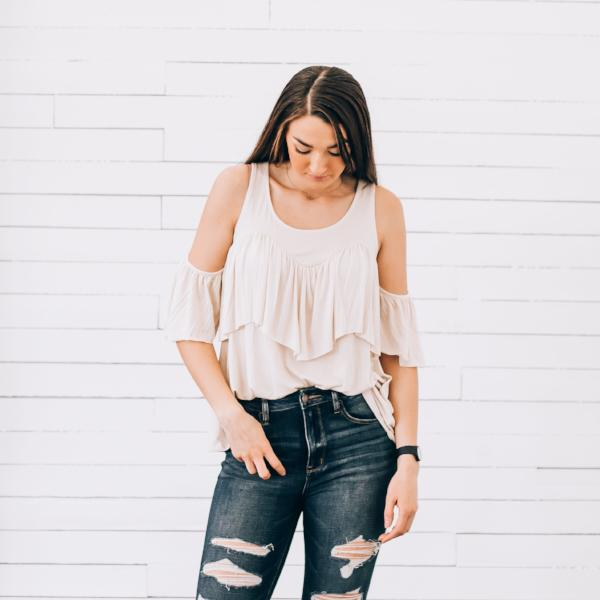 Blake 3/4 Sleeve Cold Shoulder Top