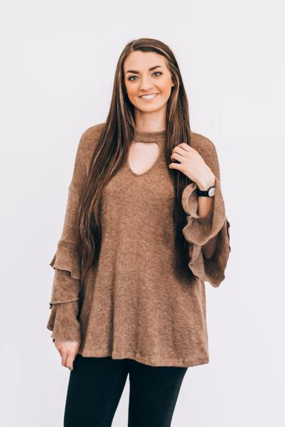 Addison Triple Ruffle Bell Sleeve Sweater