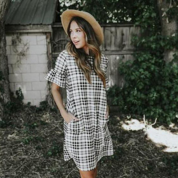 ISLA PLAID SHIFT DRESS WITH BELL SLEEVES