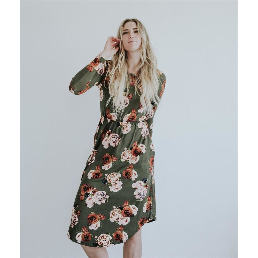 LILLIAN LONG SLEEVE FLORAL MIDI DRESS