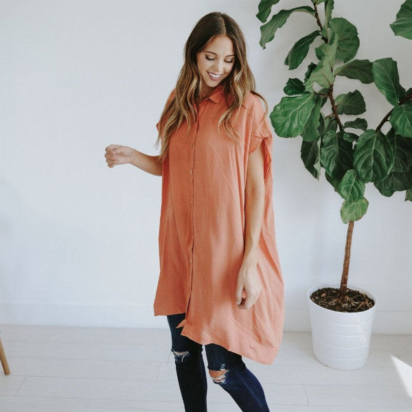 AUBREE BUTTON DOWN TUNIC WITH CUTOUT