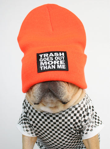 Trash Goes Out More Than Me Beanie
