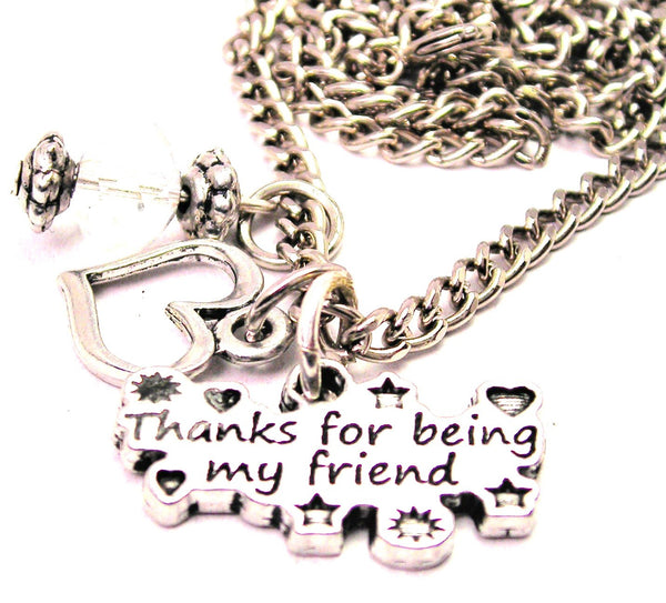Thanks For Being My Friend Necklace with Small Heart