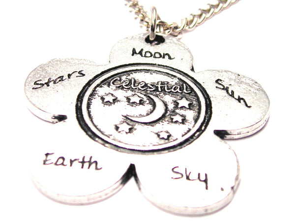 The Celestial Flower Large Single Charm Necklace