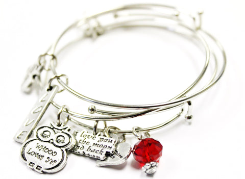 3 Piece Bangle Bracelet Set I Love You To The Moon And Back With Whoo Loves Ya Owl Collection