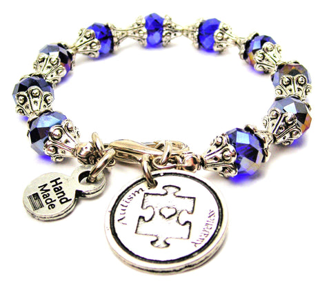 Autism Awareness Capped Crystal Bracelet