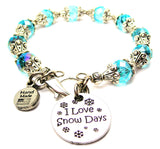 I Love Snow Days Capped Crystal Bracelet