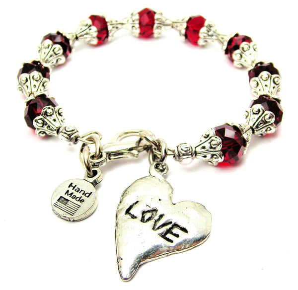 Love Abstract Heart Capped Crystal Bracelet
