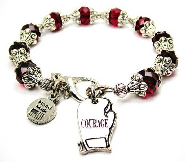 Courage Boxing Glove Capped Crystal Bracelet