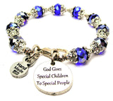 God Gives Special Children To Special People Capped Crystal Bracelet