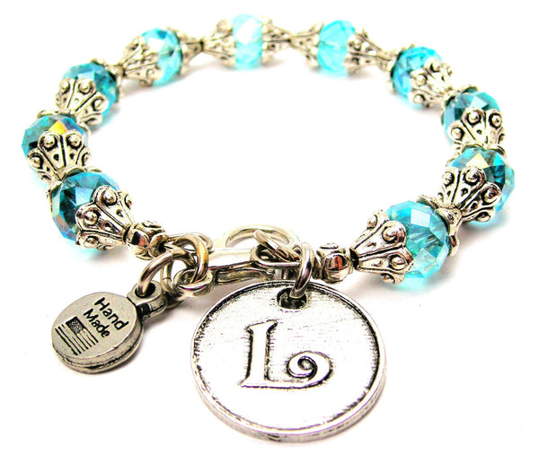 Initial L Circle Capped Crystal Bracelet