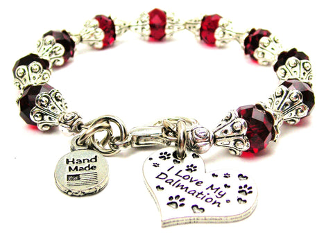 I Love My Dalmatian Capped Crystal Bracelet