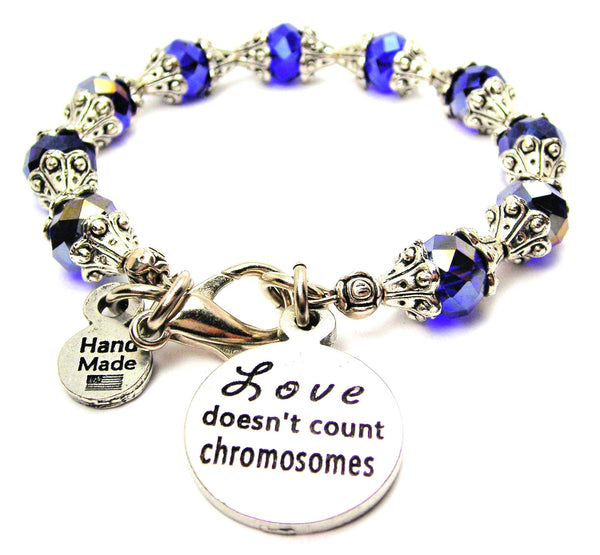 Love Doesn't Count Chromosomes Capped Crystal Bracelet