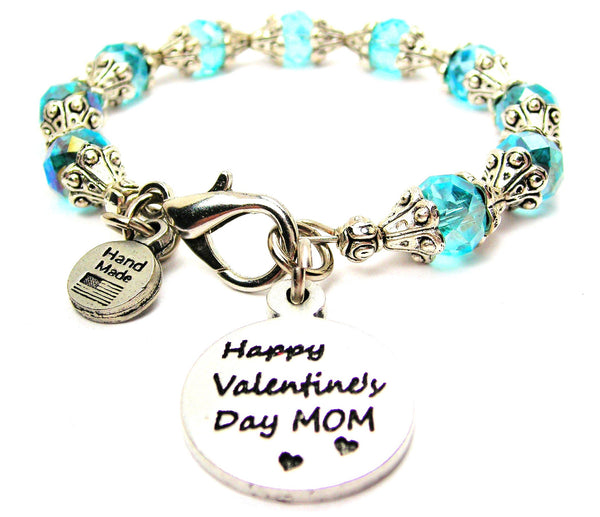 Happy Valentines Day Mom Capped Crystal Bracelet