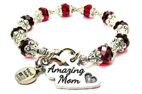 Amazing Mom Capped Crystal Bracelet