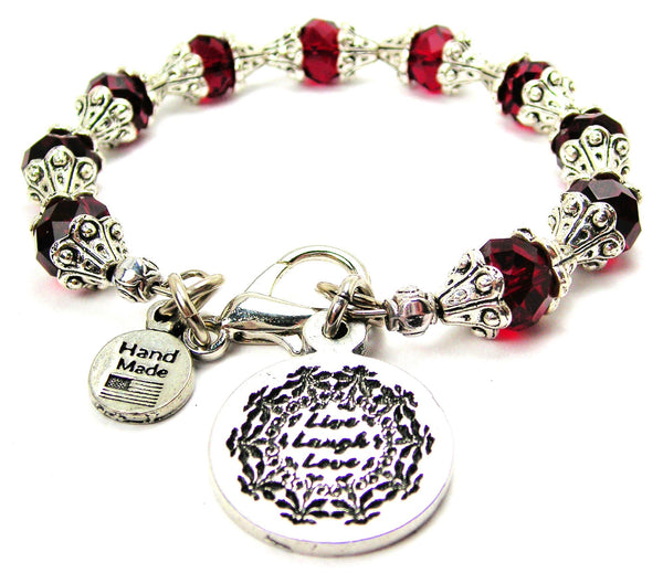 Live Laugh Love Capped Crystal Bracelet