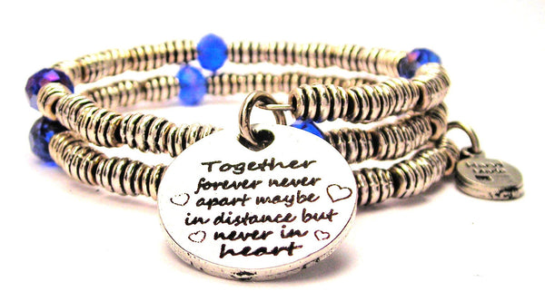 Together Forever Never Apart Maybe In Distance But Never In Heart Curly Coil Wrap Style Bangle Bracelet