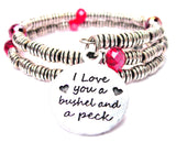 I Love You A Bushel And A Peck Curly Coil Wrap Style Bangle Bracelet