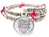 Hope Love Cure Curly Coil Wrap Style Bangle Bracelet
