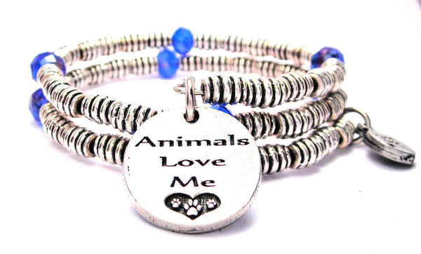 Animals Love Me Curly Coil Wrap Style Bangle Bracelet