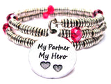 My Partner My Hero Curly Coil Wrap Style Bangle Bracelet