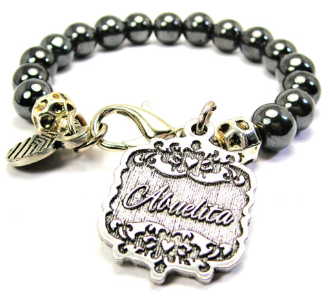 Abuelita Victorian Scroll Hematite Glass Bracelet