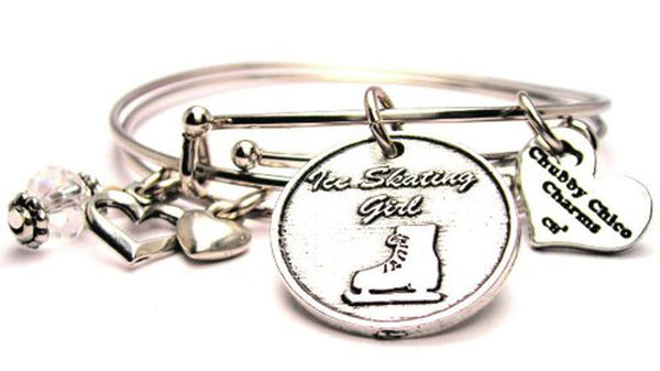 Ice Skating Girl Expandable Bangle Bracelet Set