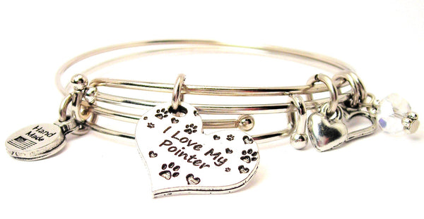dog lover bracelet, I love dogs bracelet, pointer dog bracelet, animal rights bracelet, animal awareness bracelet