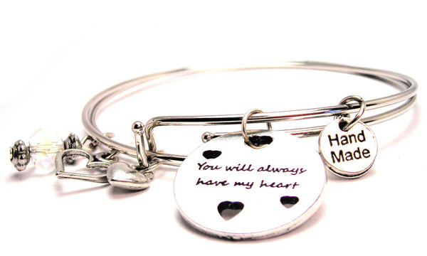You Will Always Have My Heart Expandable Bangle Bracelet Set