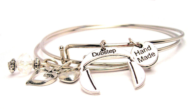 Dubstep Music Headphones Expandable Bangle Bracelet Set