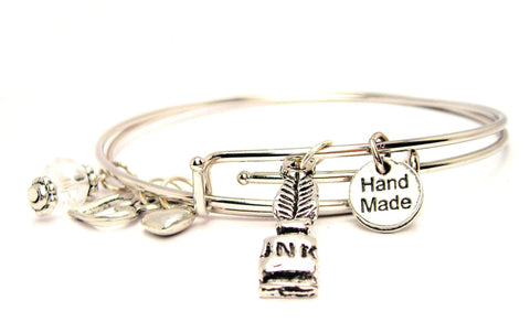 Feather Quill And Inkwell Expandable Bangle Bracelet Set