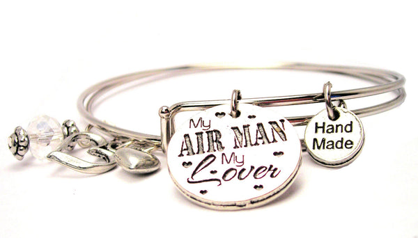 My Air Man My Lover Expandable Bangle Bracelet Set