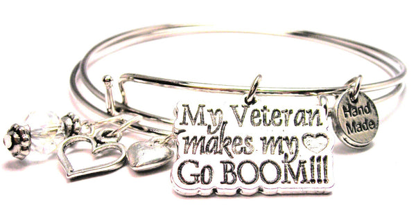 My Veteran Makes My Heart Go Boom Expandable Bangle Bracelet Set