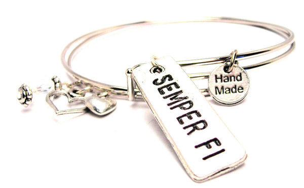 Semper Fi Expandable Bangle Bracelet Set