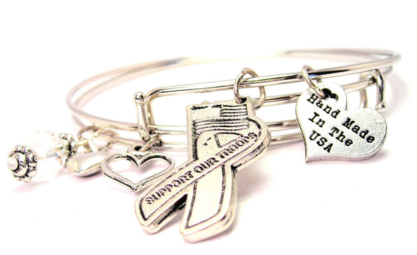 Support Our Troops Awareness Ribbon Expandable Bangle Bracelet Set