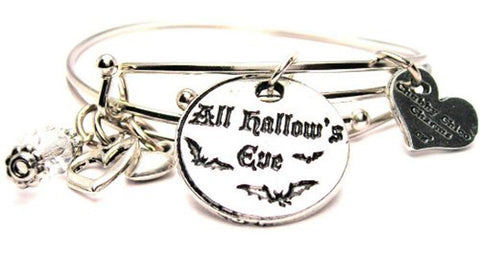 All Hallow's Eve Circle With Bats Expandable Bangle Bracelet Set