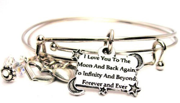 I Love You To The Moon And Back Again To Infinity And Beyond Forever And Ever Expandable Bangle Bracelet Set