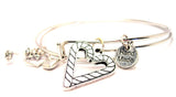Candy Canes Making A Heart Expandable Bangle Bracelet Set
