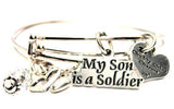 My Son Is A Soldier Expandable Bangle Bracelet Set