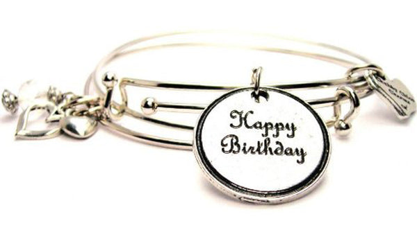 Happy Birthday Circle Expandable Bangle Bracelet Set