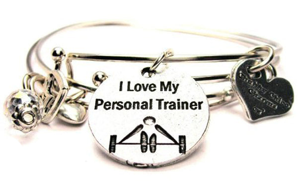 I Love My Personal Trainer Expandable Bangle Bracelet Set
