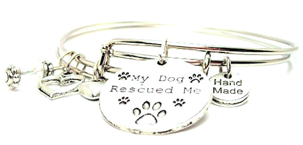My Dog Rescued Me Expandable Bangle Bracelet Set