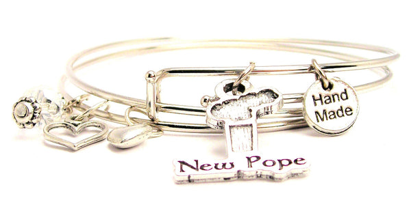 New Pope Smoke Stack Expandable Bangle Bracelet Set