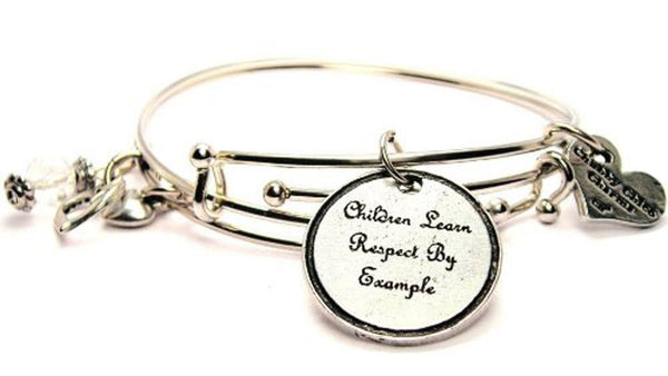 Children Learn Respect By Example Expandable Bangle Bracelet Set