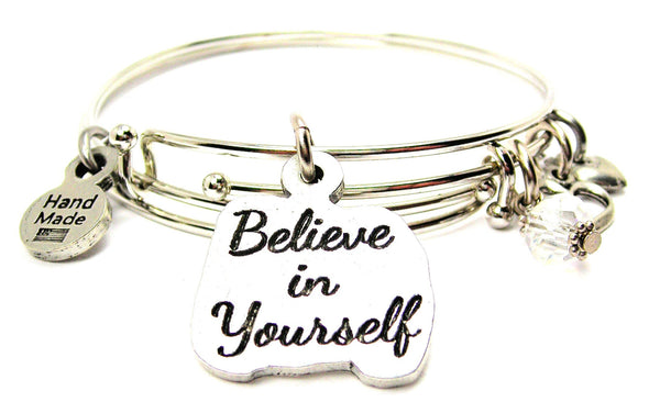 Believe In Yourself Expandable Bangle Bracelet Set