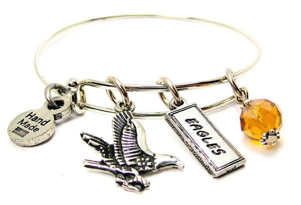 Eagle With Eagles Tab Expandable Bangle Bracelet
