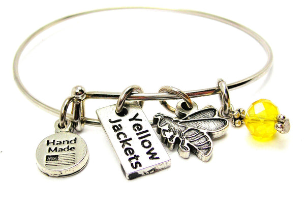 Yellow Jacket With Yellow Jackets Tab Bangle Bracelet
