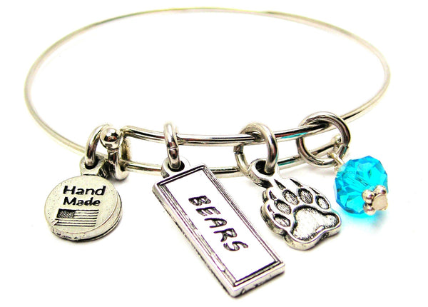 Bear Paw With Bears Tab Bangle Bracelet